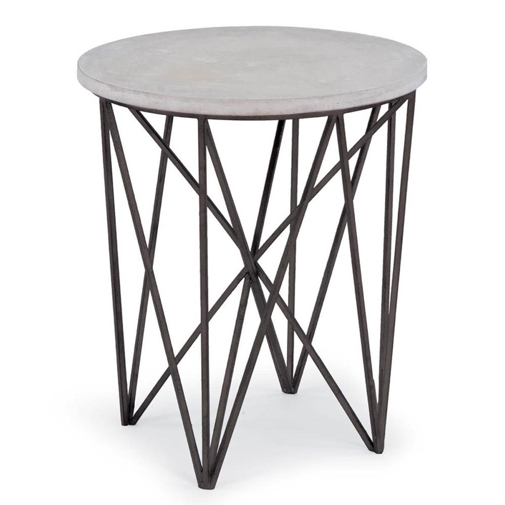 regina andrew round accent table with rustic concrete top gray pulaski leather recliner unfinished wood farmhouse console glass and brushed nickel end tables target footstool