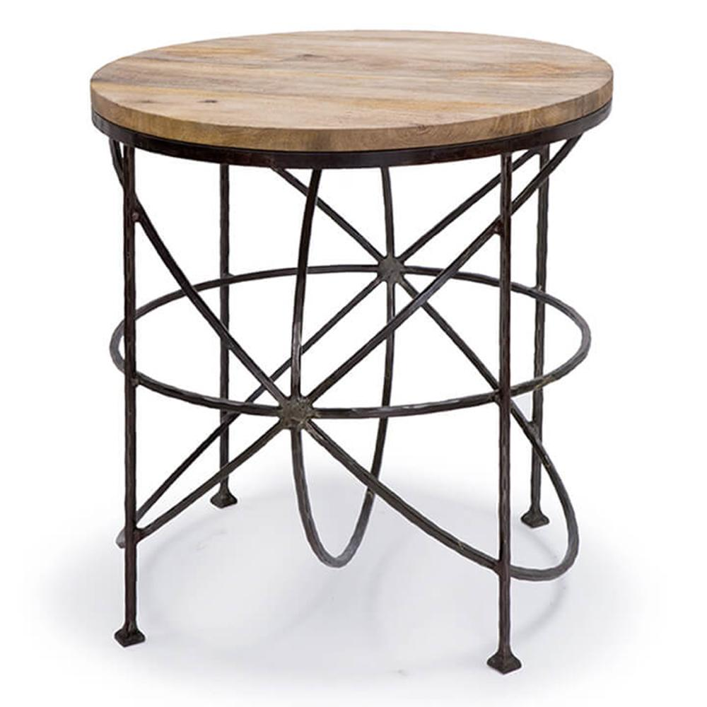 regina andrew round orbitals accent table with wooden top blackened iron amazing coffee tables nautical chandelier shades garden set concrete look teal kitchen decor large storage