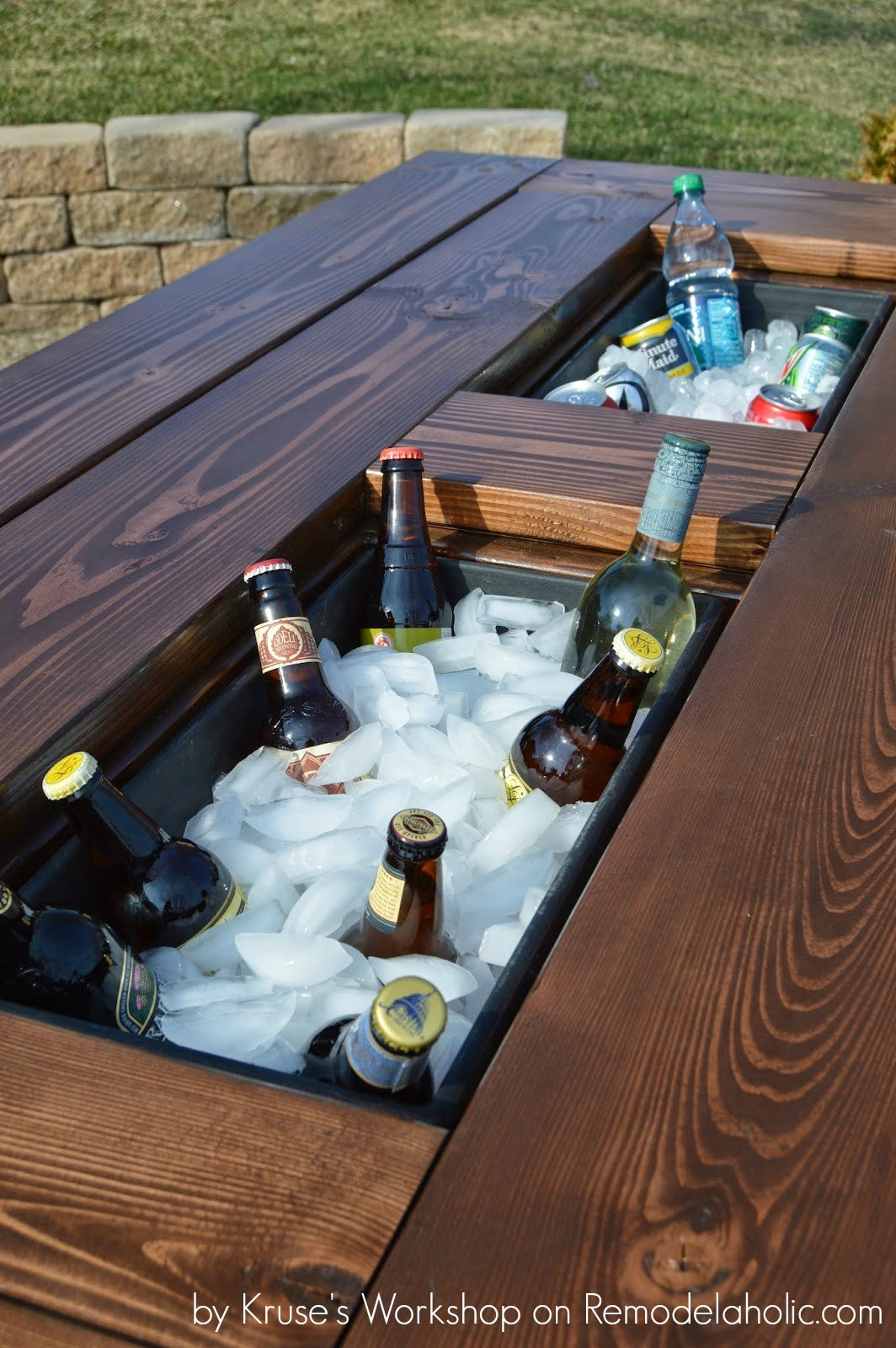 remodelaholic building plans patio table with built drink coolers build from planter boxes kruses work outdoor side beverage cooler long cabinet spring mattress pine and chairs