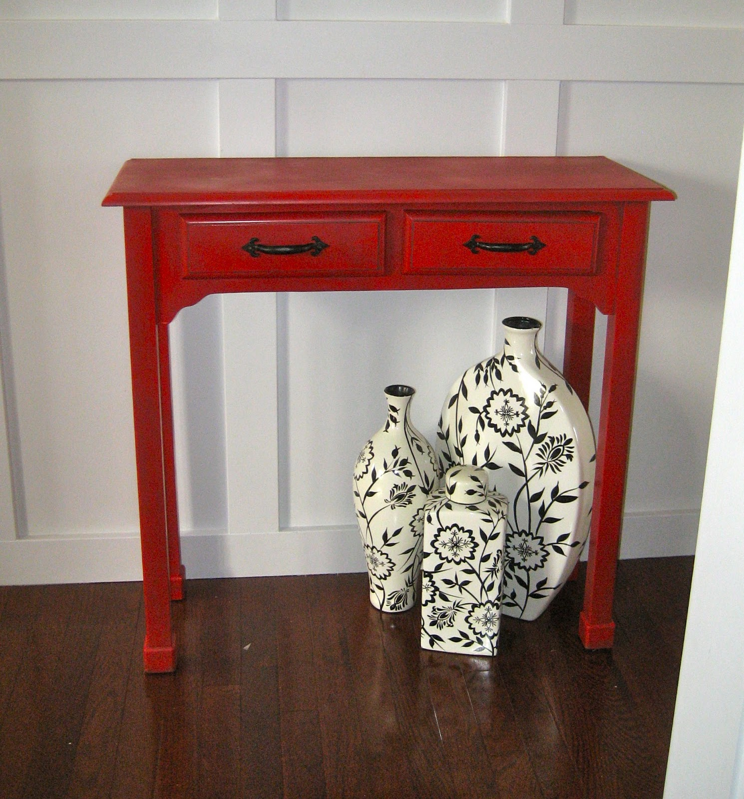 remodelaholic red painted and glazed accent table corner kirklands small grey console marble desk distressed metal side half moon glass large lamp dale vinyl floor threshold
