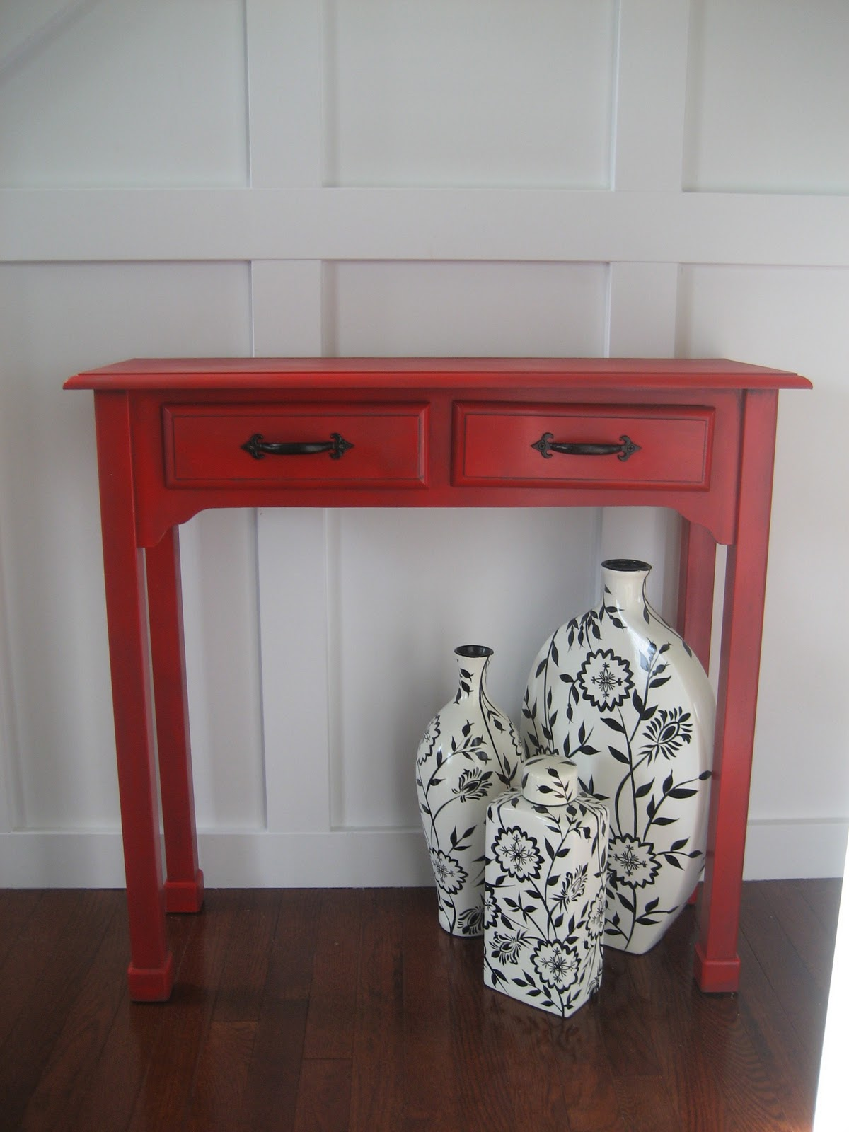 remodelaholic red painted and glazed accent table img marble gold bunnings outdoor gray farmhouse west elm lamp shades pottery barn kitchen sets vinyl floor threshold patio
