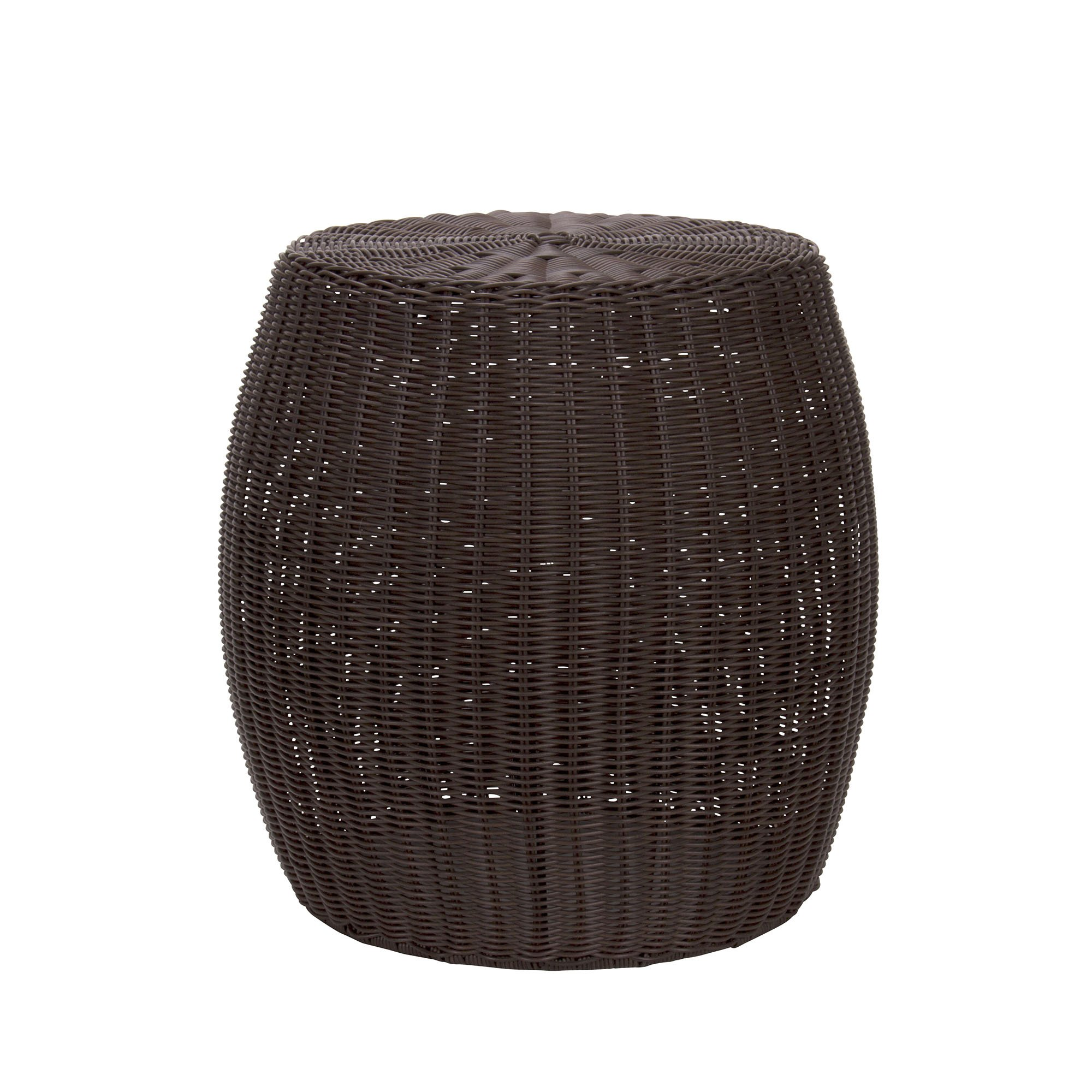 resin wicker side table find outdoor brown get quotations household essentials barrel slim console with drawers rod iron round granite top coffee copper lamp room desk painted