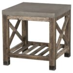 resource decor percival rustic lodge concrete top weathered wood product outdoor side table kathy kuo home iron umbrella stand garden furniture storage modern glass lamps pier 150x150