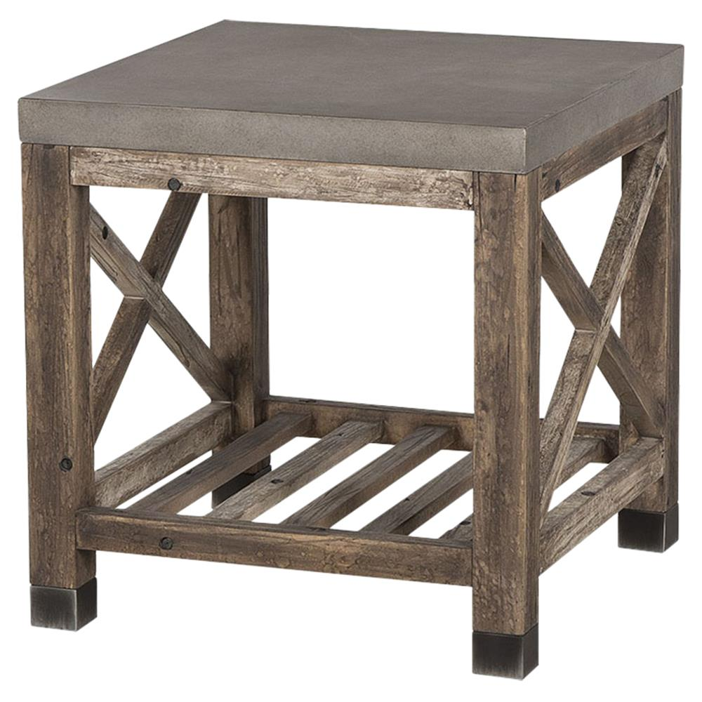 resource decor percival rustic lodge concrete top weathered wood product outdoor side table kathy kuo home iron umbrella stand garden furniture storage modern glass lamps pier