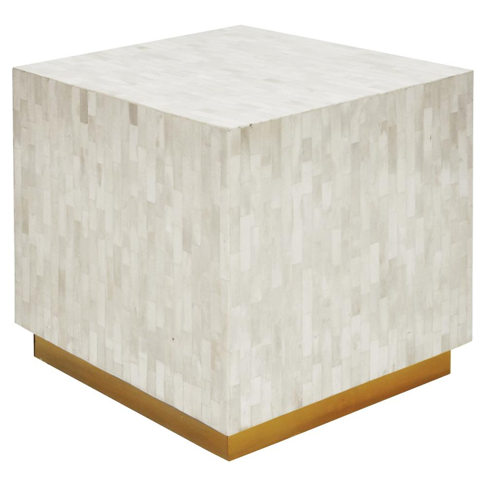 reston modern classic white gold bone cube side table stool product accent kathy kuo home small industrial coffee inch round cloth tablecloths glass console wood and moroccan tile