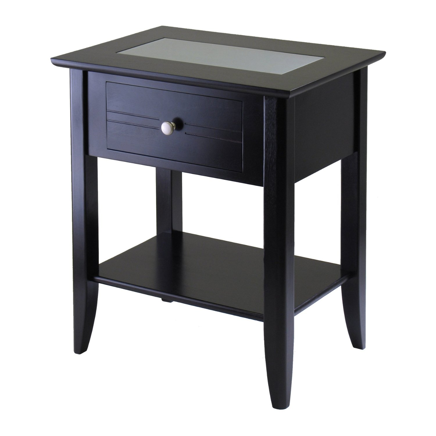 retro black oak wood side table with shelf stretcher impressive winsome end drawer and dark night stands ideas white pedestal accent ashley furniture dining mirrored very small