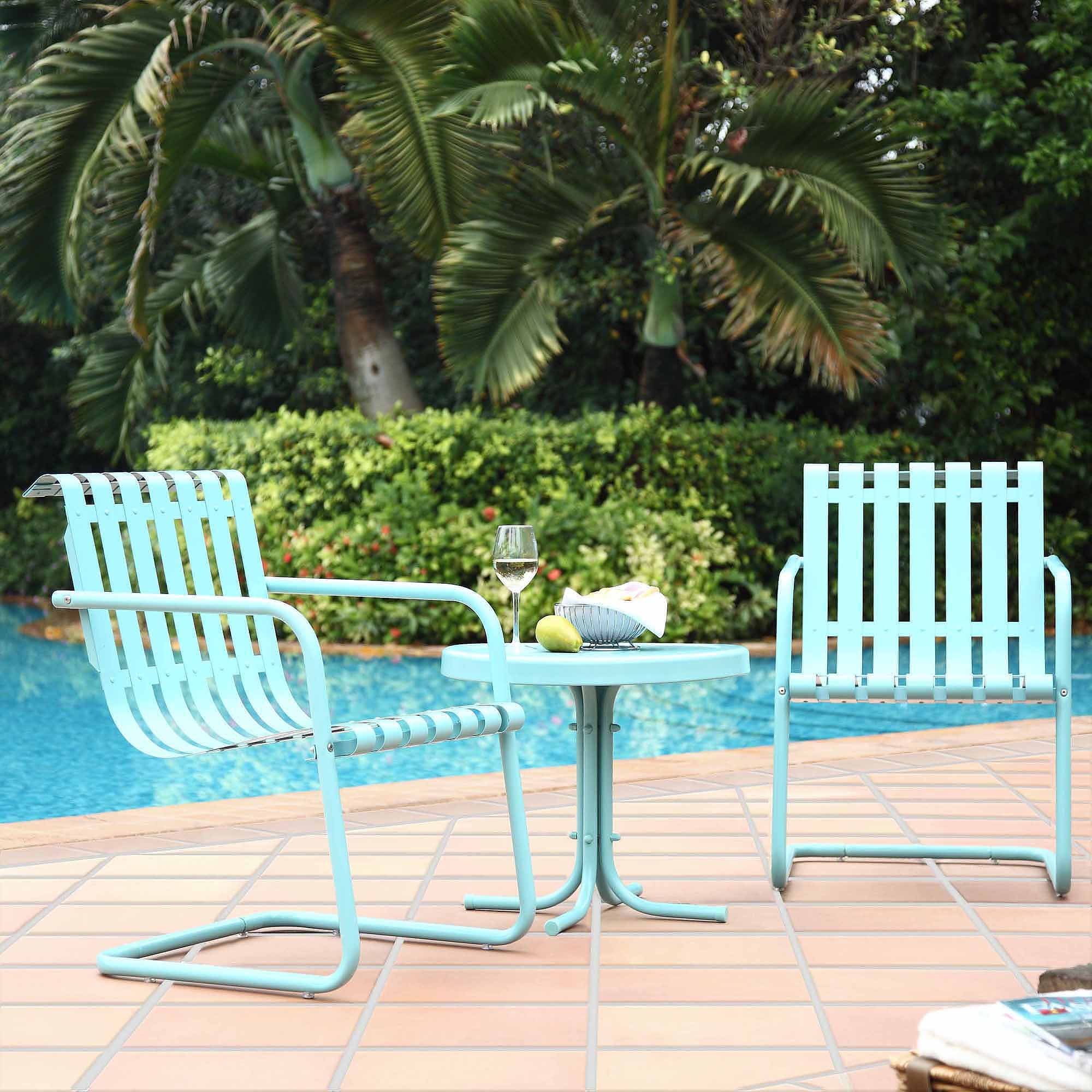 retro furniture patio steel white metal outdoor table and chairs crosley gracie piece conversation seating backyard side kyra father rolls barn door dining room pineapple light