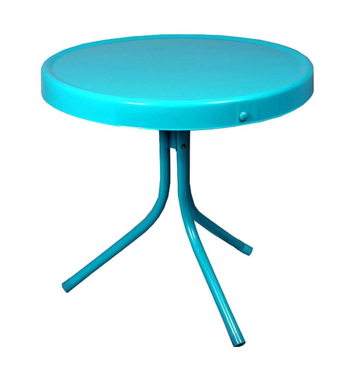 retro metal outdoor side table turquoise blue windrockpier accent tulip sofa with matching end tables small rectangular patio half circle kitchen chair and ott hairpin counter