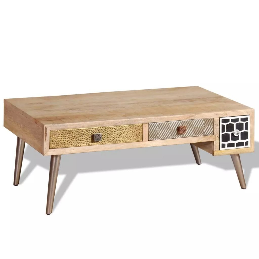 retro style solid mango wood coffee accent table with drawers living room furniture kitchen dining olive green side antique ethan allen seater patio best computer desk mirrored