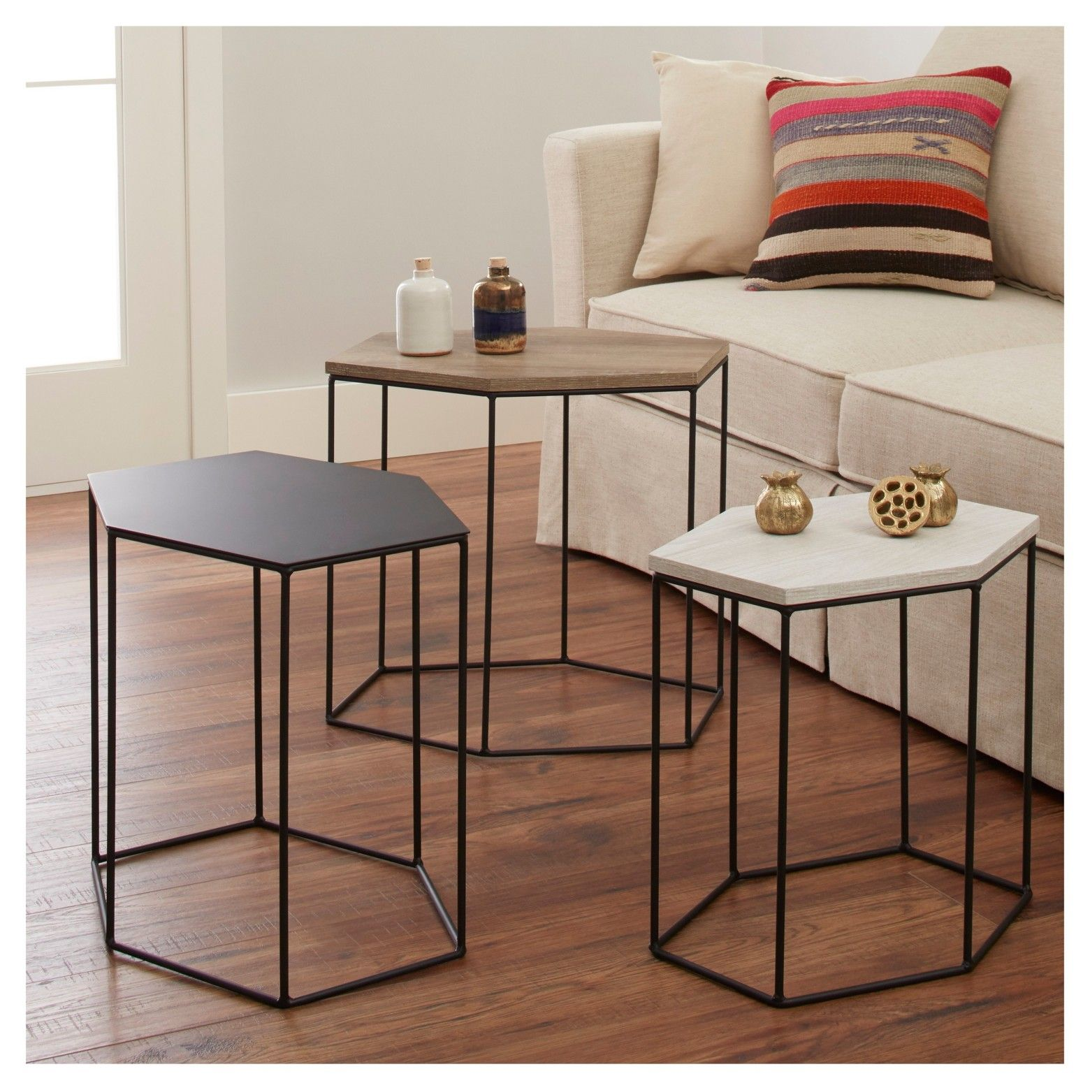 revamp your home decor with the whitney hexagonal accent table set hexagon target this occasional comes three coordinating pieces designed chair side tables living room placemat