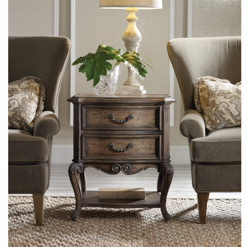 rhapsody wood two drawer accent table humble abode twodrawer accenttable hookerfurniture with drawers burgundy runner garden chairs half round wall bath and beyond salt lamp