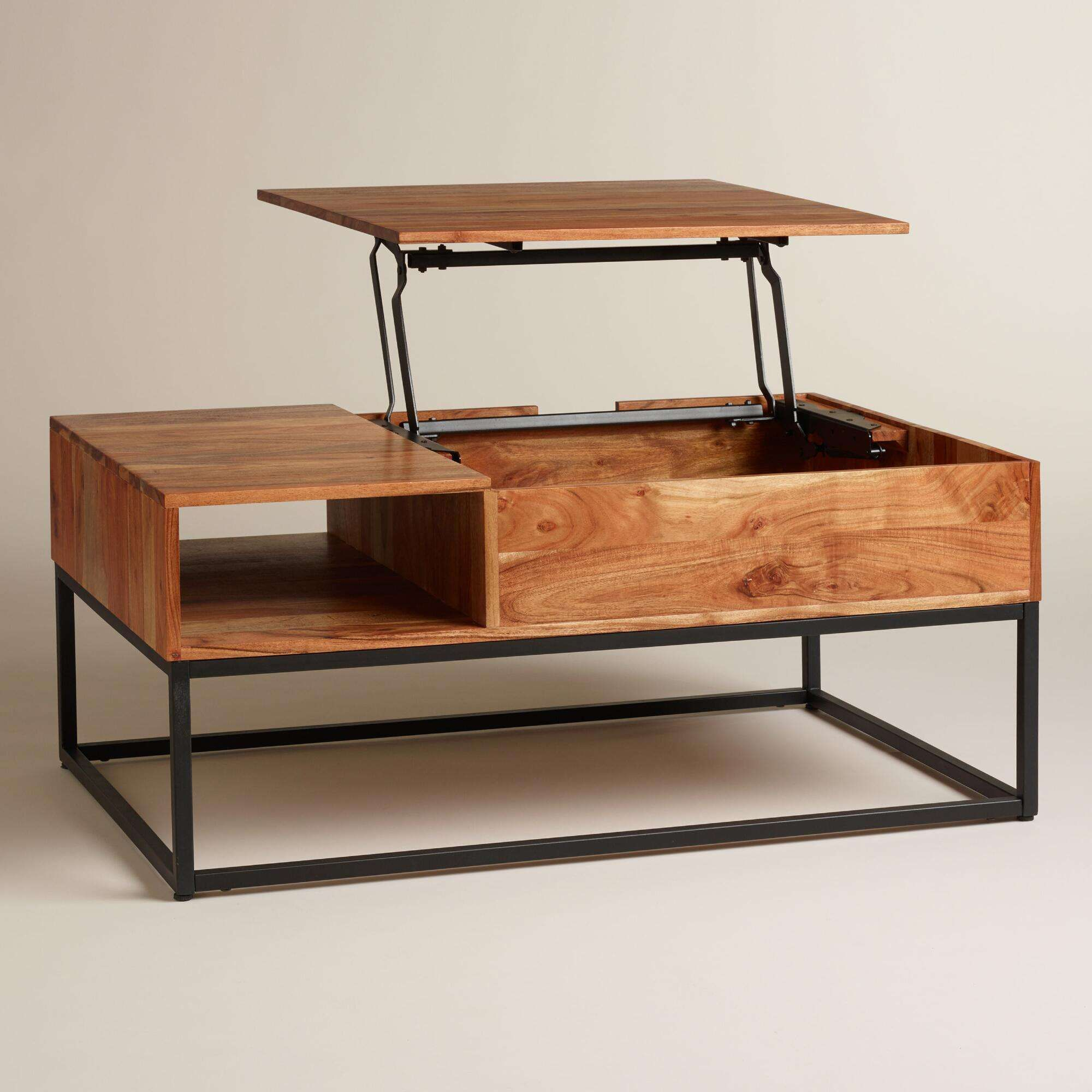 richly grained acacia wood sleek metal base there more outdoor side table with storage from source best ideas antique kidney sectional small copper purple accent ashley nesting