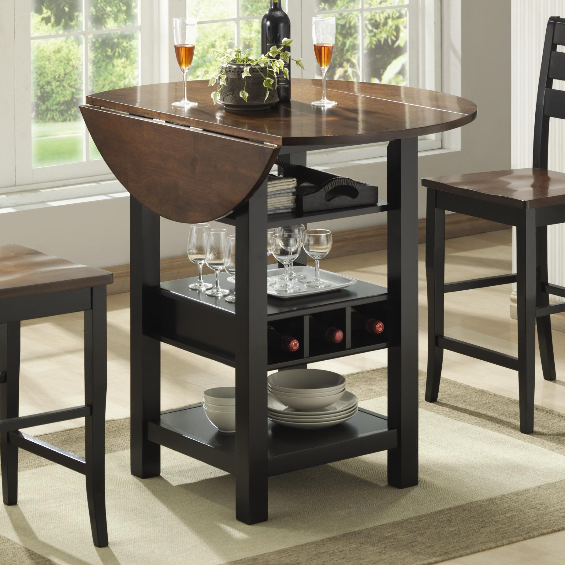 ridgewood drop leaf pub table with wine rack bernards wayside furniture products color dining accent home mini bar white chest antique black side outdoor drink cooler coffee