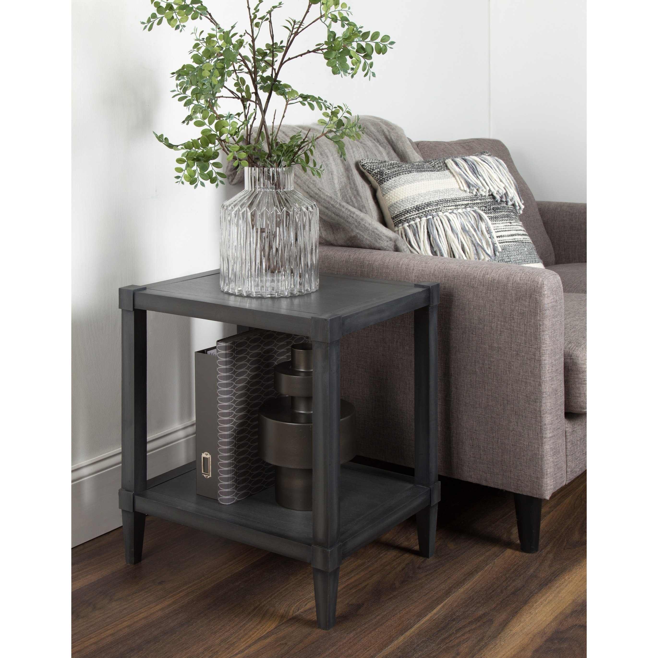 rio wooden side accent table with lower shelf dark gray pipe end wood coffee metal frame small decorative tables front porch bench brown entry black long skinny owings target drum