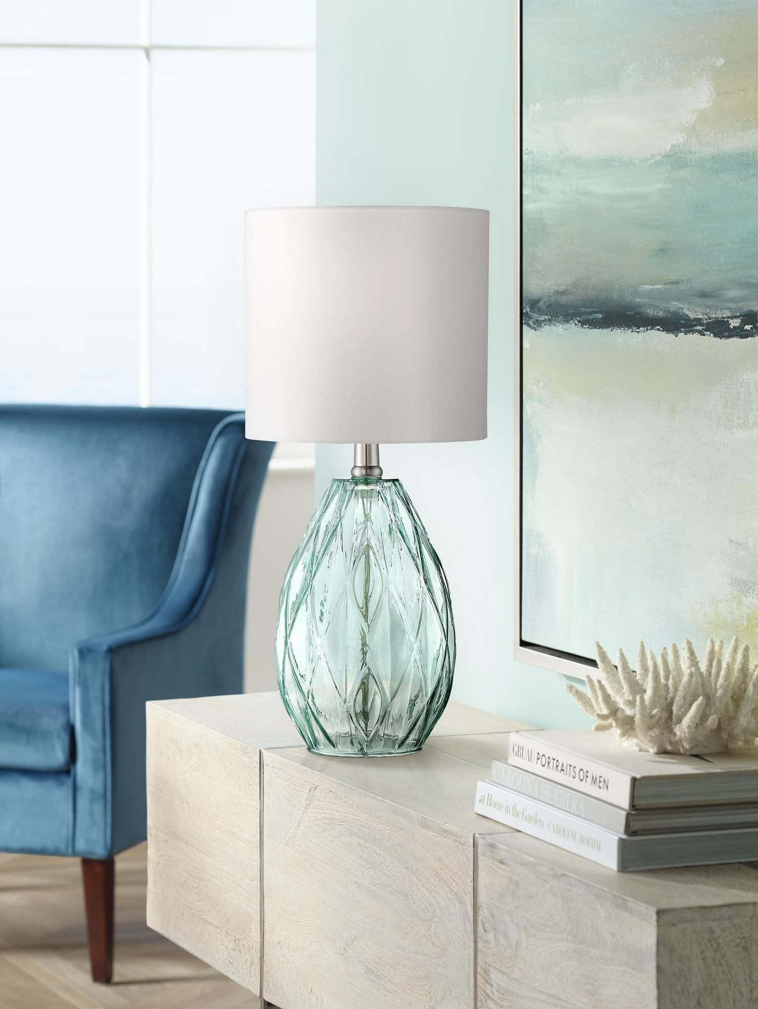 rita blue green glass accent table lamp lamps plus narrow nest tables lewis wood patio side mosaic kitchen modern furniture design ese pottery barn black coffee pin legs half moon
