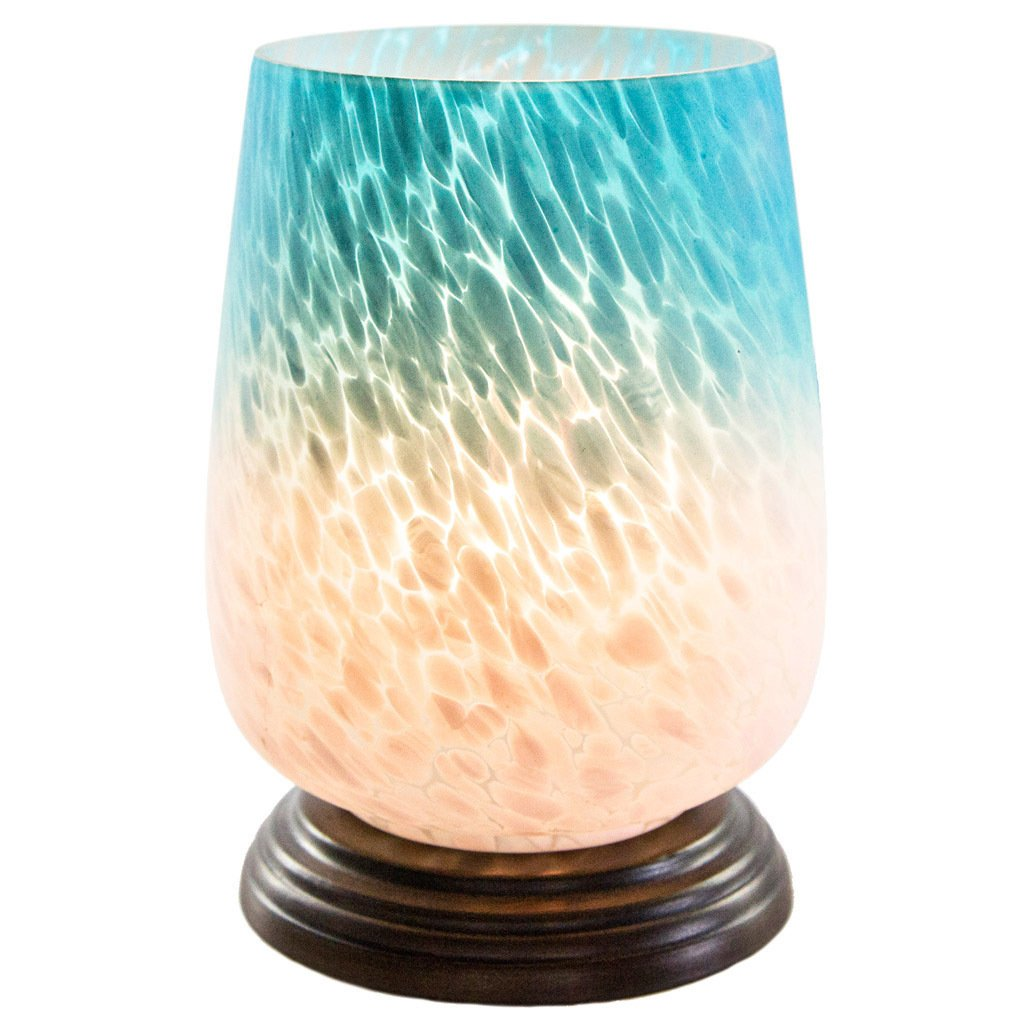 river goods blue and white ombre hand painted handblown glass uplight accent table lamp handpainted lamps inch high free shipping orders over square patio farmhouse style dining