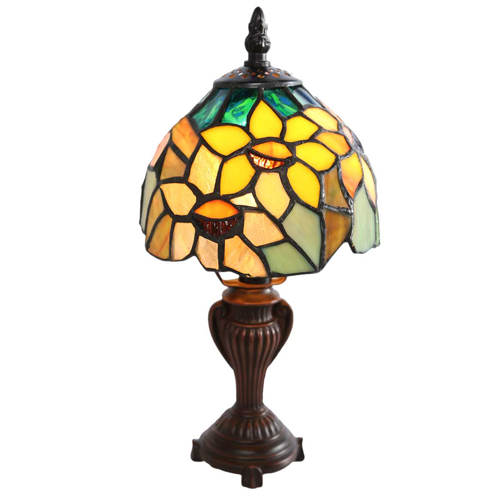 river goods inch stained glass sunflower blossoms accent table lamp tall breakfast chairs edmonton wood end with top nautical pendant lights for kitchen island pallet coffee plans