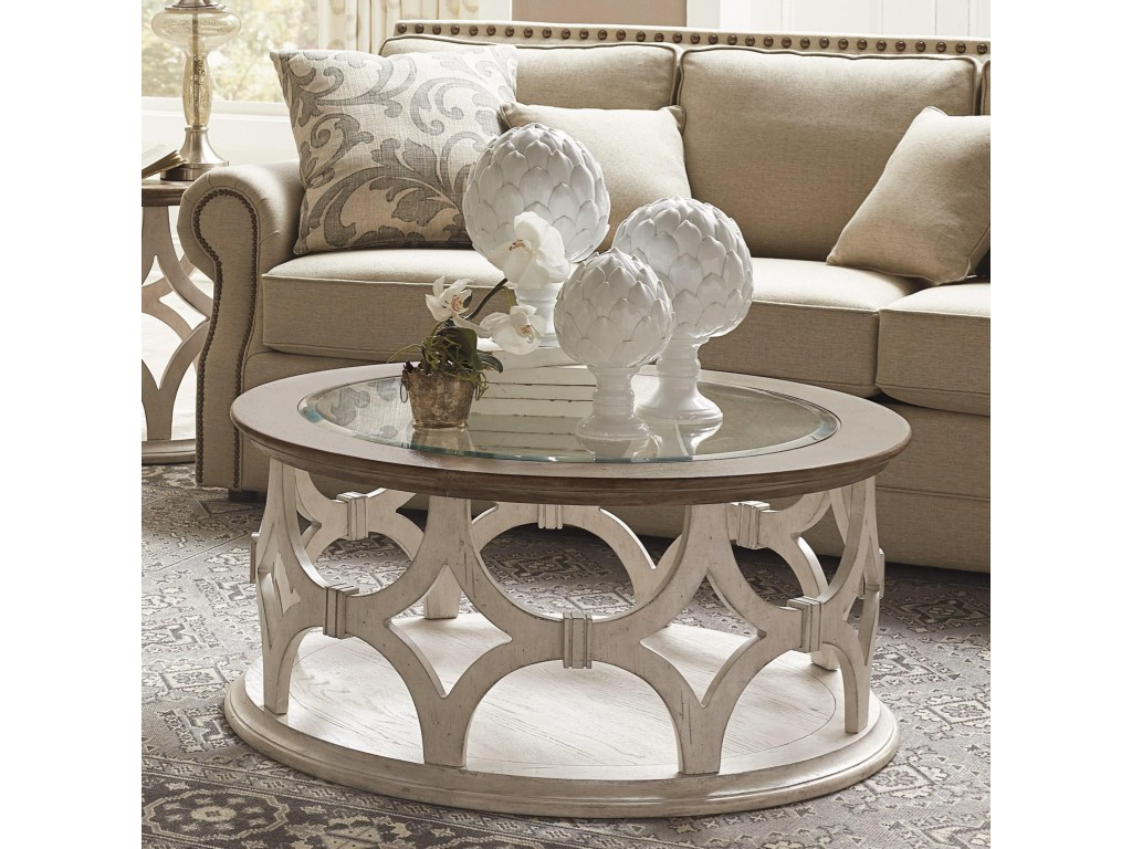 riverside furniture elizabeth round cocktail table with glass insert products color threshold hexagon accent elizabethround vinyl floor edge trim cube ashley website oval