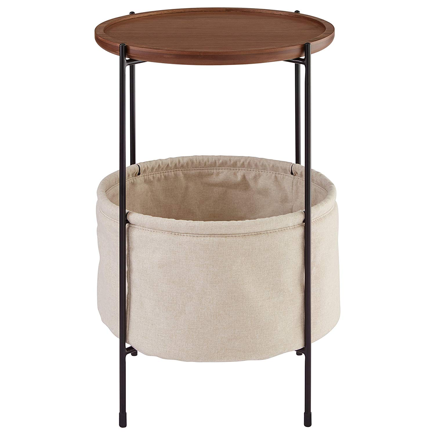 rivet meeks round storage basket side table walnut and wire accent cream fabric kitchen dining all modern hardwood wood metal coffee office end red cloth counter height with bench