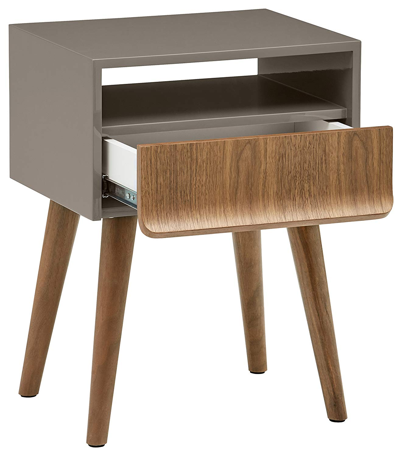 rivet mid century lacquer side table grey and walnut zebra accent kitchen dining white bedside lockers home goods small iron cherry wood dinner black counter height teal coffee