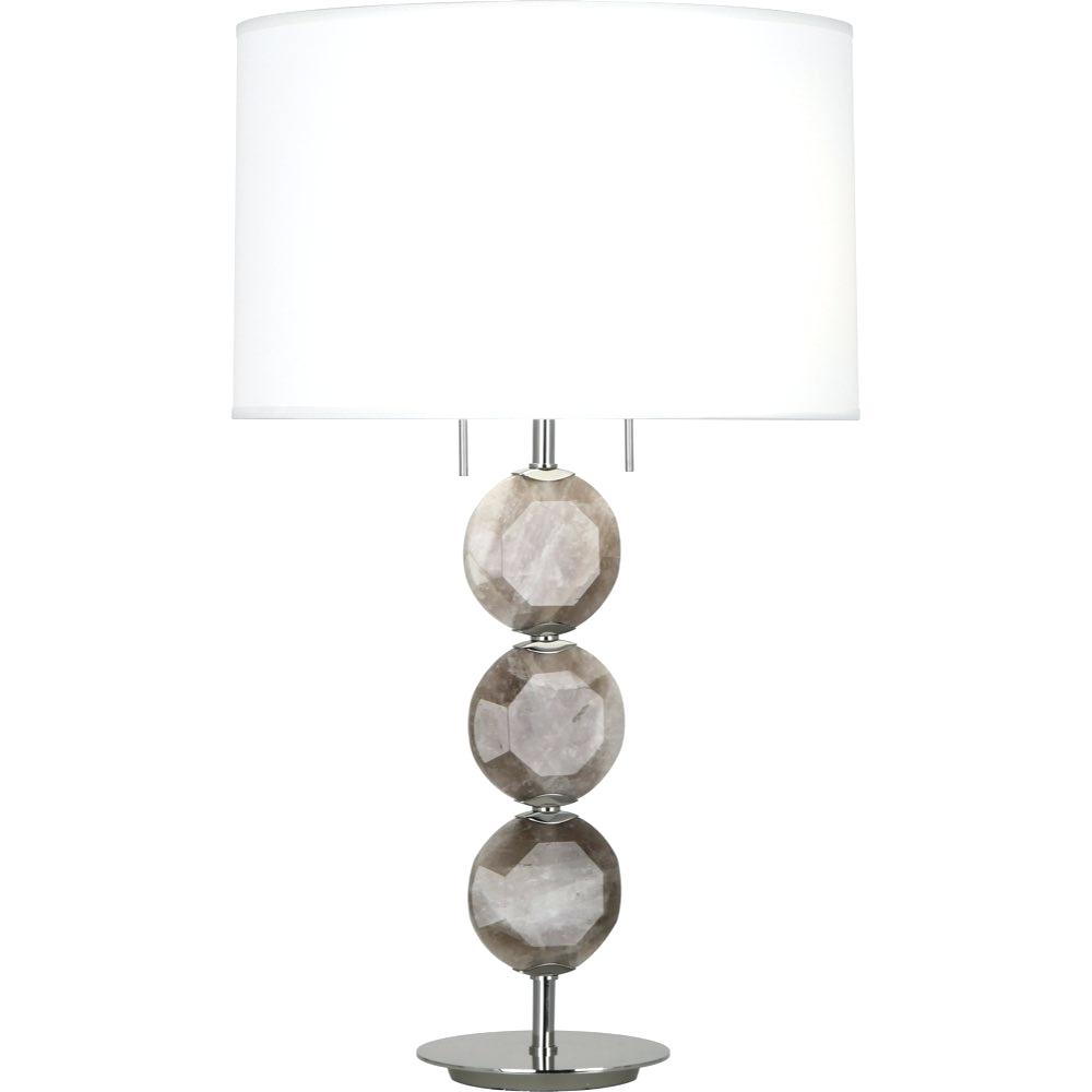 robert abbey table lamps wanderkin hope lamp polished nickel finish with smoky rock crystal accents accent round garden coffee white wicker glass top square tablecloth sizes tea