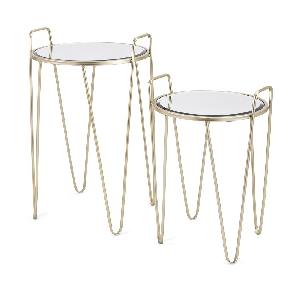 robust metal accent tables with glass top set two gold and silver table free shipping today mid century modern chairs west elm outdoor lighting wood furniture edmonton entrance