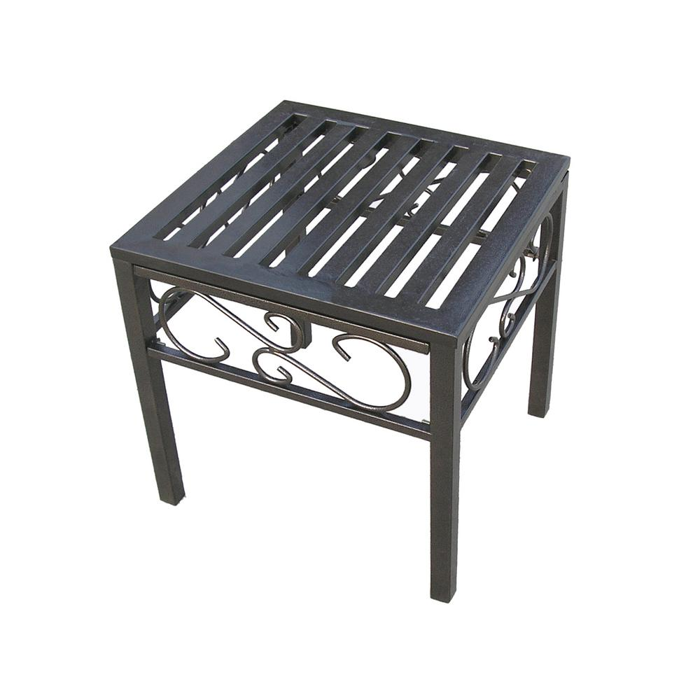 rochester metal outdoor side table the tables grill small accent chairs dark coffee living room storage cabinets average height wood accents for furniture patio collections iron
