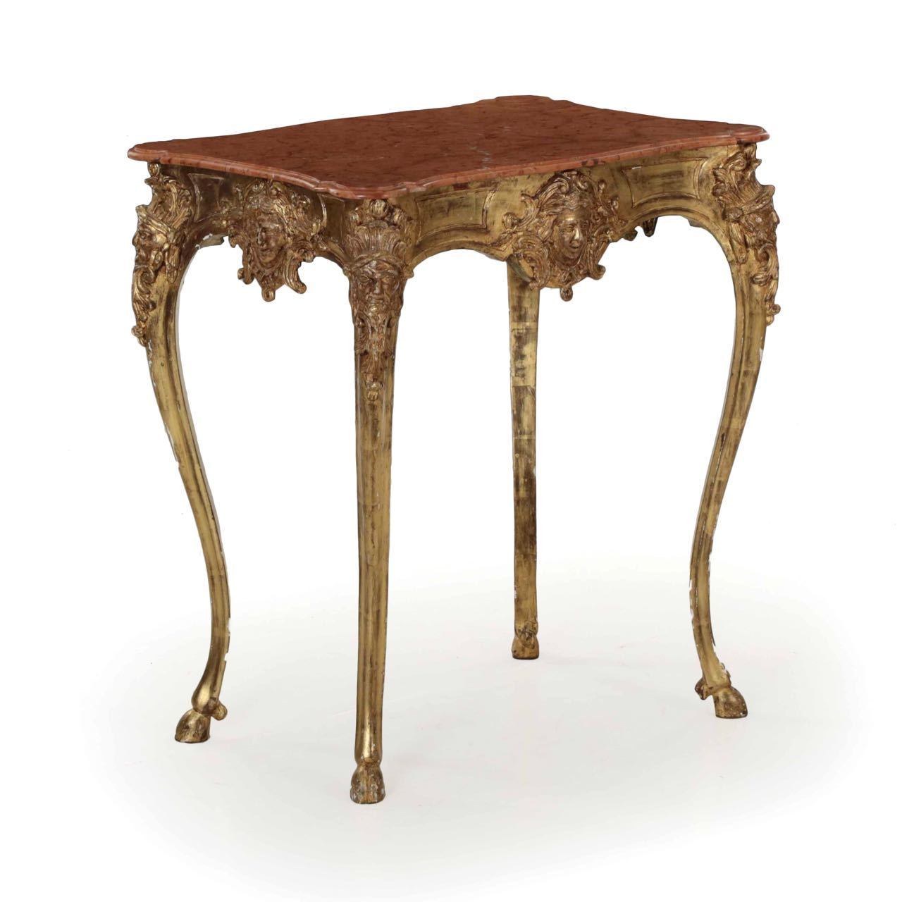 rococo giltwood marble top side table century carved console jules small accent hooved sabots pottery barn trestle dining round bedside cloths coffee set room chairs long narrow