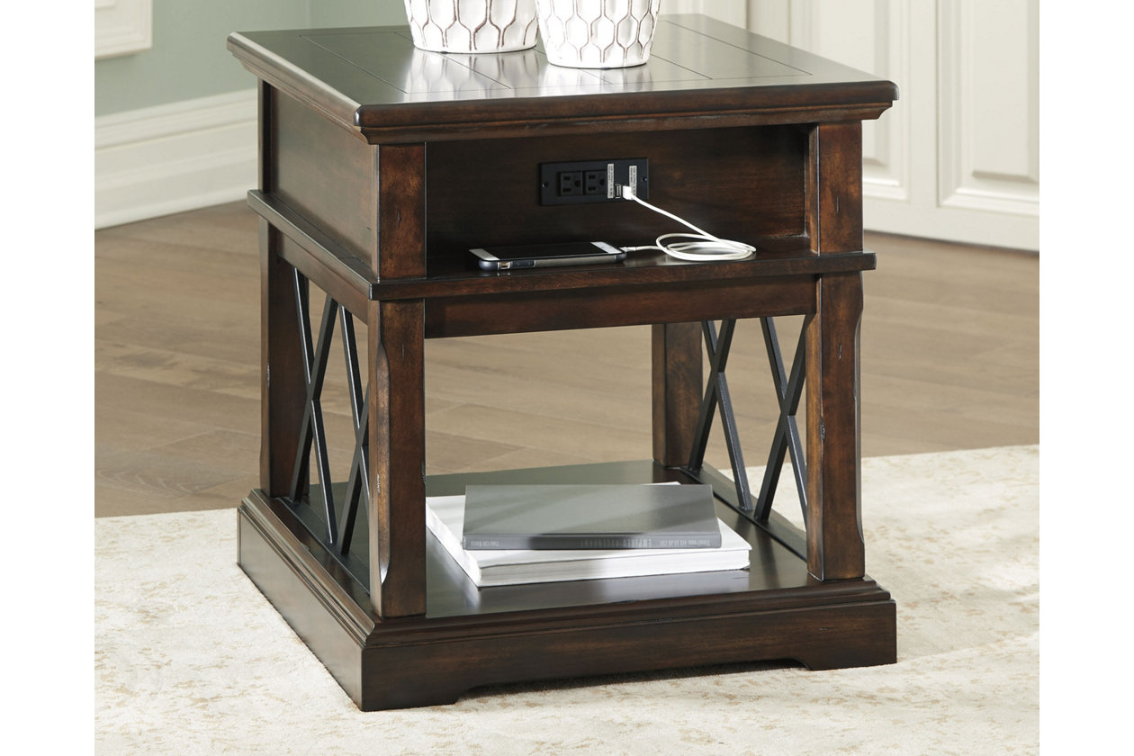 roddinton end table with usb ports ashley furniture crop accent port console triller target oak bedside cabinets carpet tile trim strips mirror side tables bedroom ott coffee