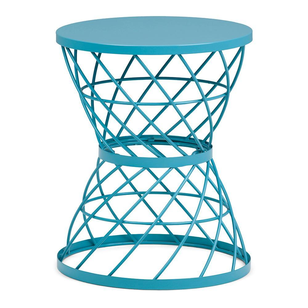 rodney metal accent table turquoise simpli home axcmtbl aqua blue decor design round outdoor glass top side contemporary chandeliers floor threshold transitions oval plastic