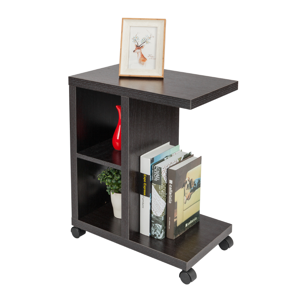rolling accent tables end table with storage shelf espresso side night stand tall bistro pedestal dining room piece patio set essentials cart pottery barn glass cherry coffee