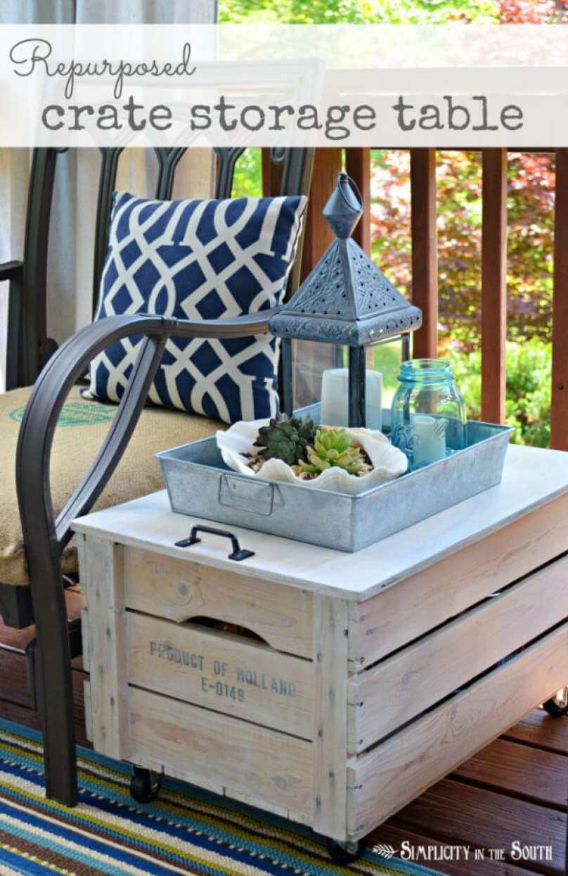 rolling upcycled wood crate accent table homebnc diy porch patio decor ideas stainless steel grill side end with storage bin vanity pottery barn bedroom furniture black plastic
