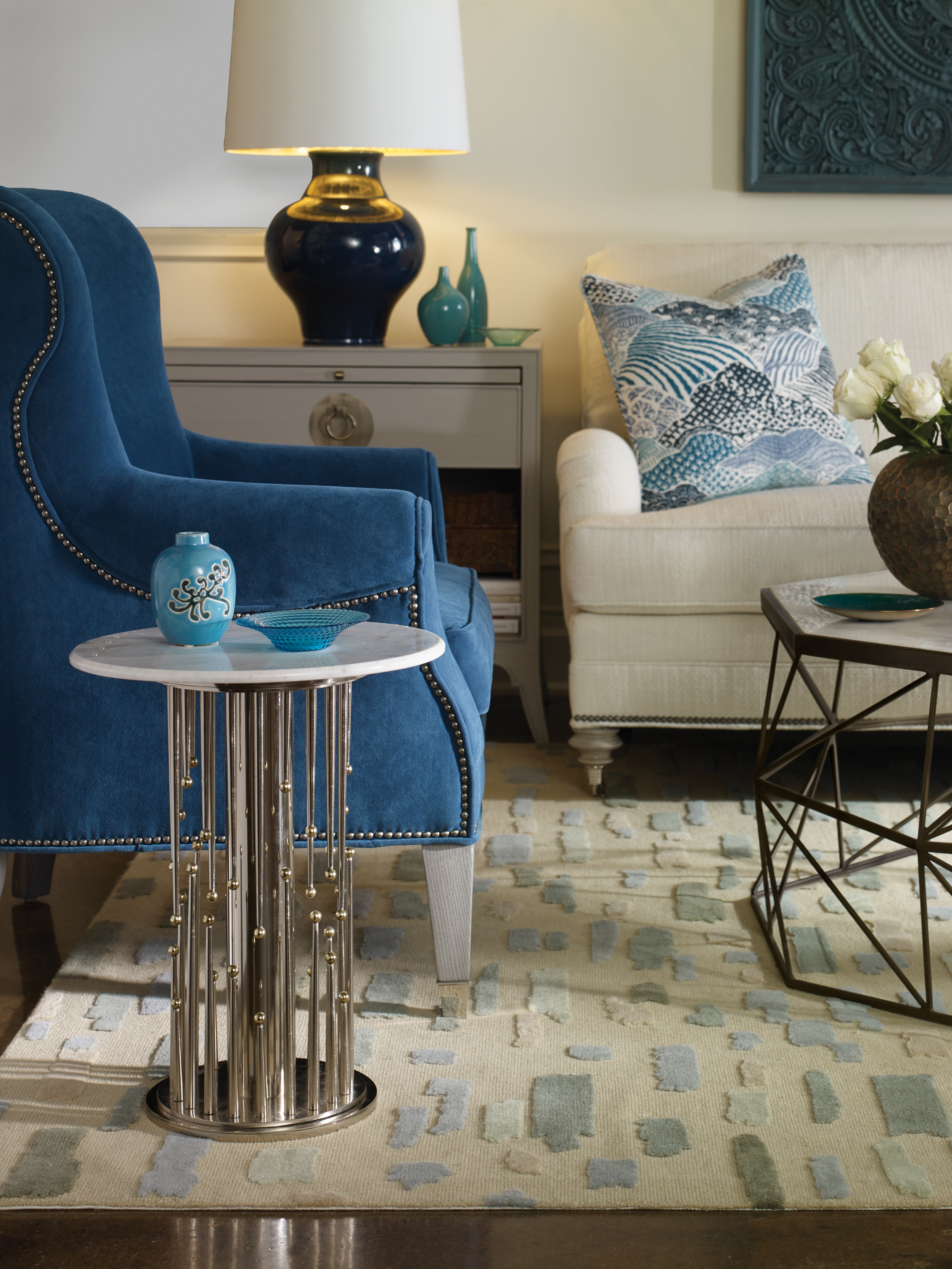 room scenes barry goralnick vanguard furniture ashx don mirrored accent table clear olivia cocktail finish warm patina brass base mosaic agaria marble top stone coloration will