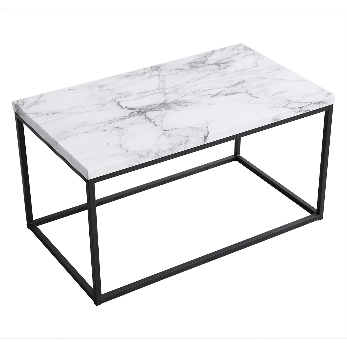 roomfitters white marble print coffee table upgraded room essentials mixed material accent water resistant version rectangular cocktail with black metal box frame restaurant lamps