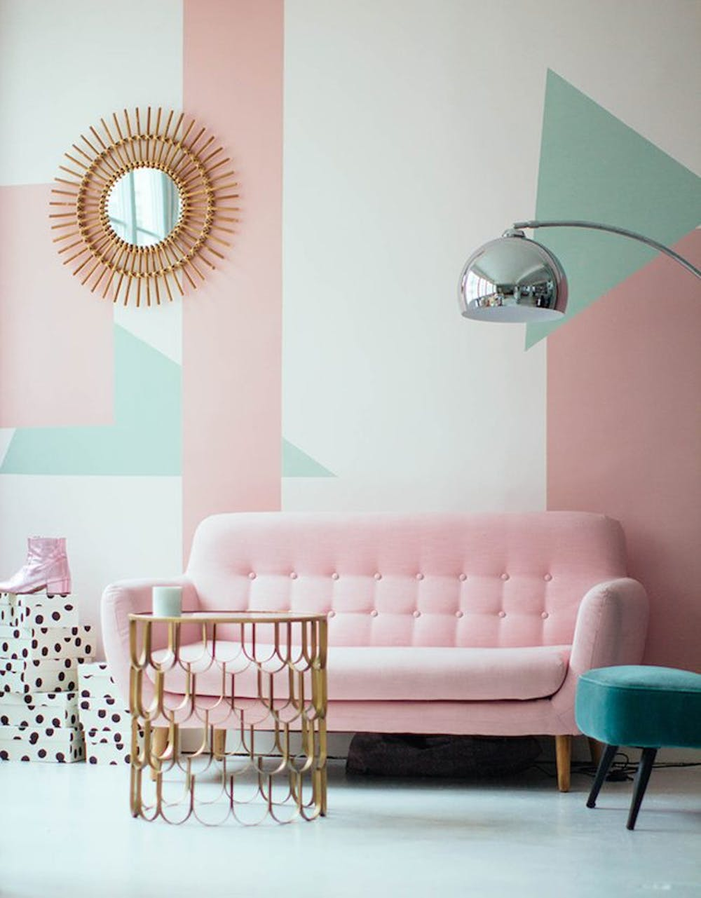 rooms that flawlessly rock the pink mint color trend brit make lemonade portes ouverte studio green accent table retro geometric adding bold blocked patterns will instantly