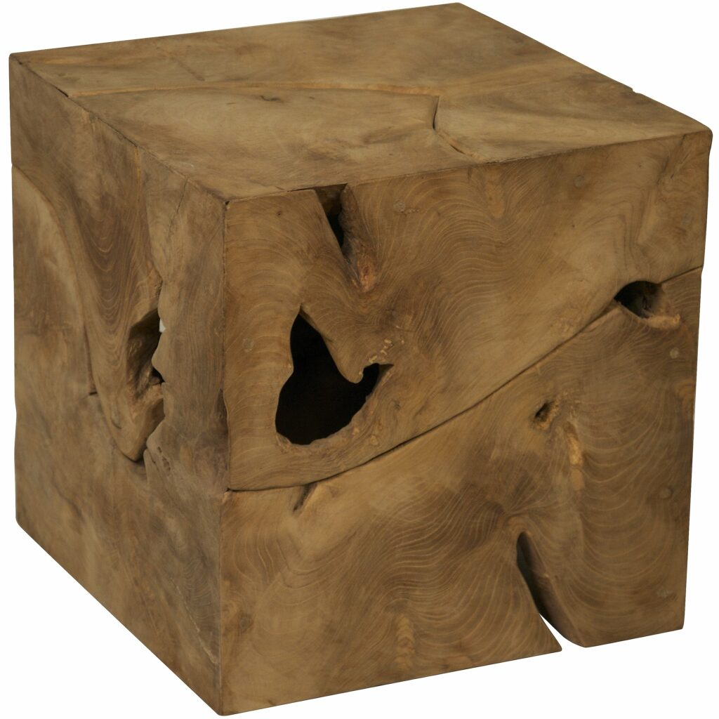 Root Cube Teak Wood Side Table Free Shipping Today Accent ...