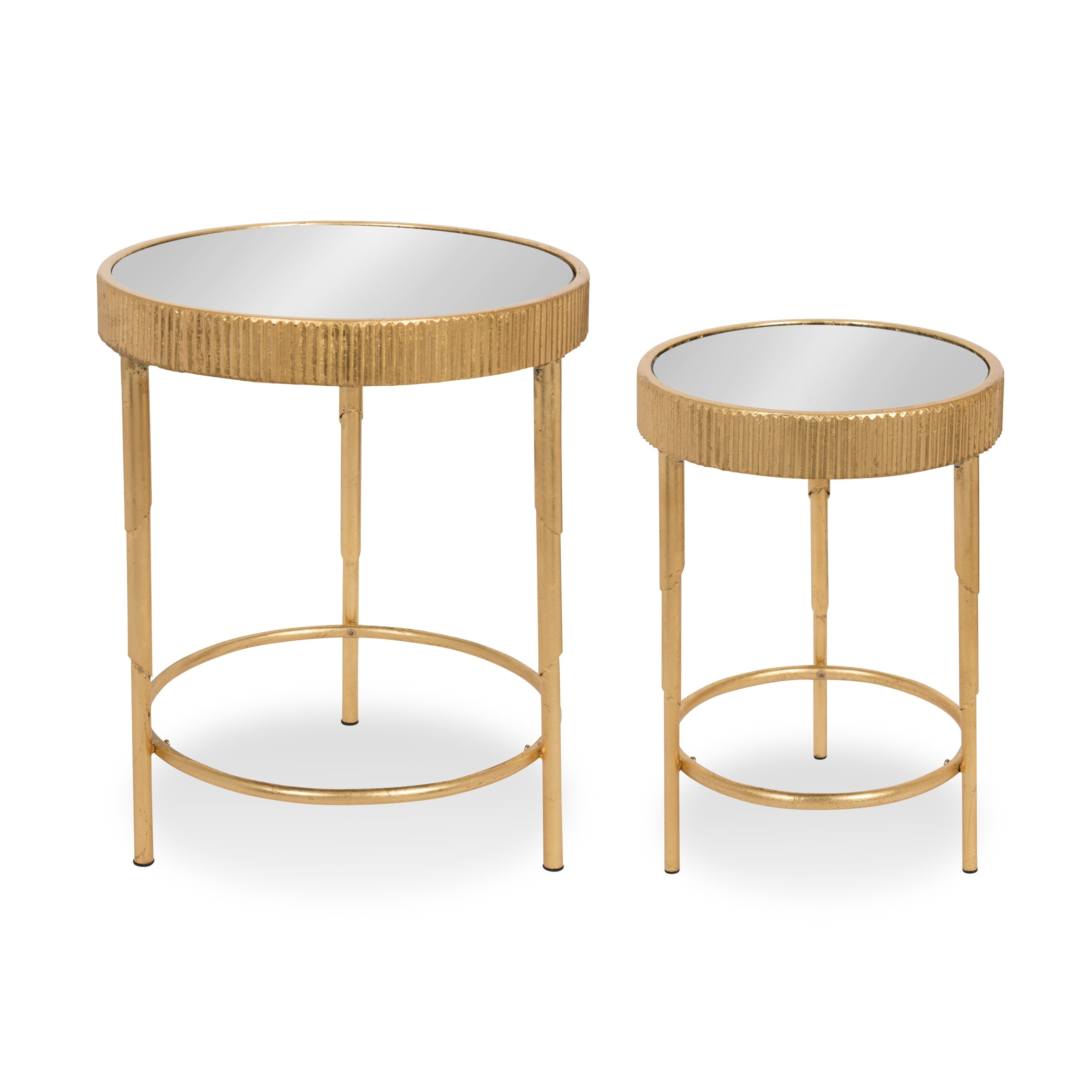 rosario round piece side accent tables gold leaf with mirror top matching mirrors free shipping today wood end storage kirklands lamps pedestal dining room furniture oak table