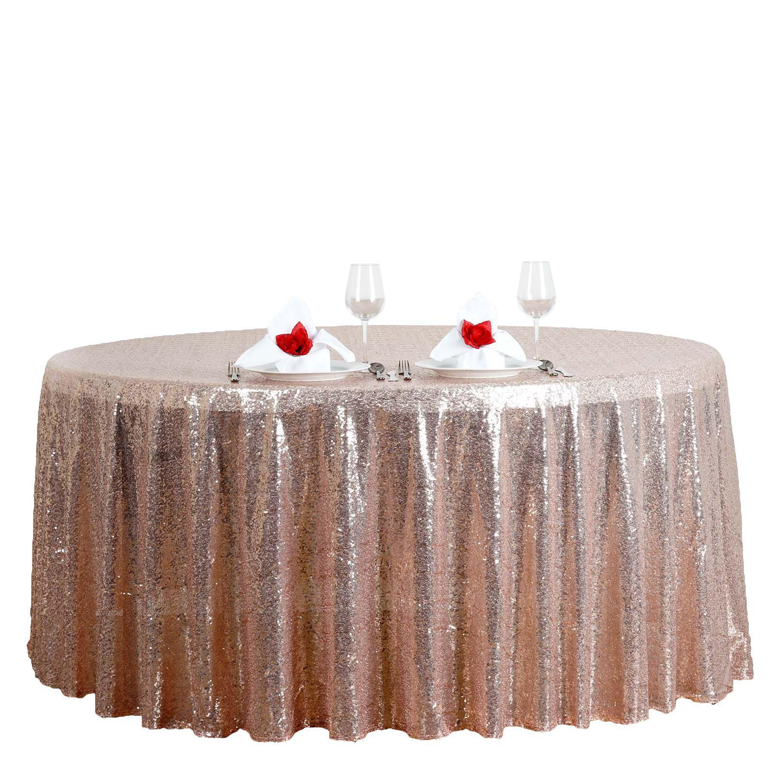 rose gold blush premium sequin round tablecloth tablecloths tab for inch accent table brown linen threshold fretwork concrete top outdoor dining bulk tennis balls ottawa hammered