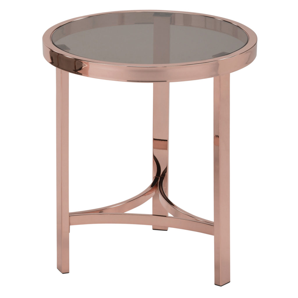 rose gold the new black worldwide homefurnishings inc strata blue round accent table you like decor trends that are incorporating metallic but find steel too cold might answer