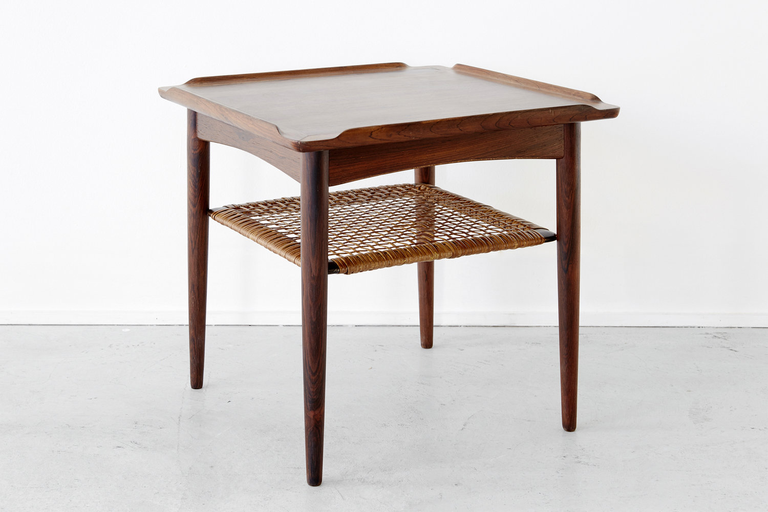 rosewood cane side table poul jensen matthew rachman gallery small accent end with mirror plastic nic tables dark brown coffee set half round barn style inch tablecloth grey oak