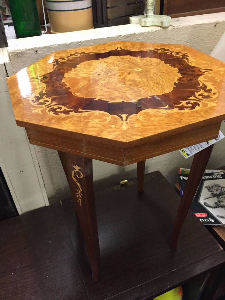 rosewood tall end table coffee brown best wood accent tables awesome inlaid music box from sorrento plays lara theme with bbq built tilt umbrella circular tablecloths linen ideas