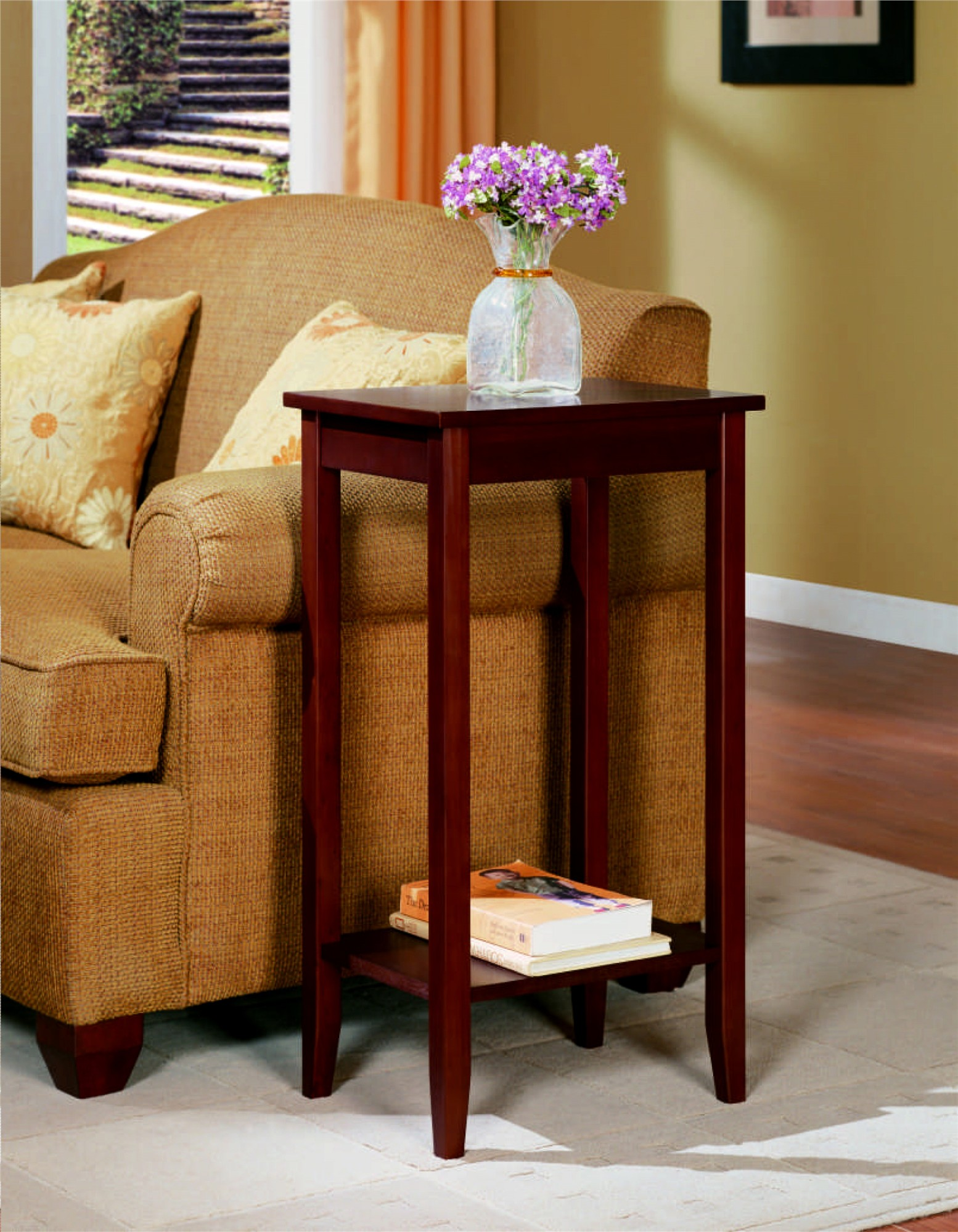 rosewood tall end table dhp furniture accent tables living room rattan side covers long computer desk tiffany style coca cola hanging lamp outdoor cushions slim glass console