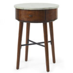 round accent end table faux marble top sofa chair side drawer details patio umbrellas ethan allen country french coffee outdoor cooler stand reclaimed barn door cube large mirror 150x150