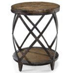 round accent end table with rustic iron legs magnussen home products color pinebrook faux wood tall oak side quatrefoil tablecloth for long stanley furniture foyer chest top 150x150