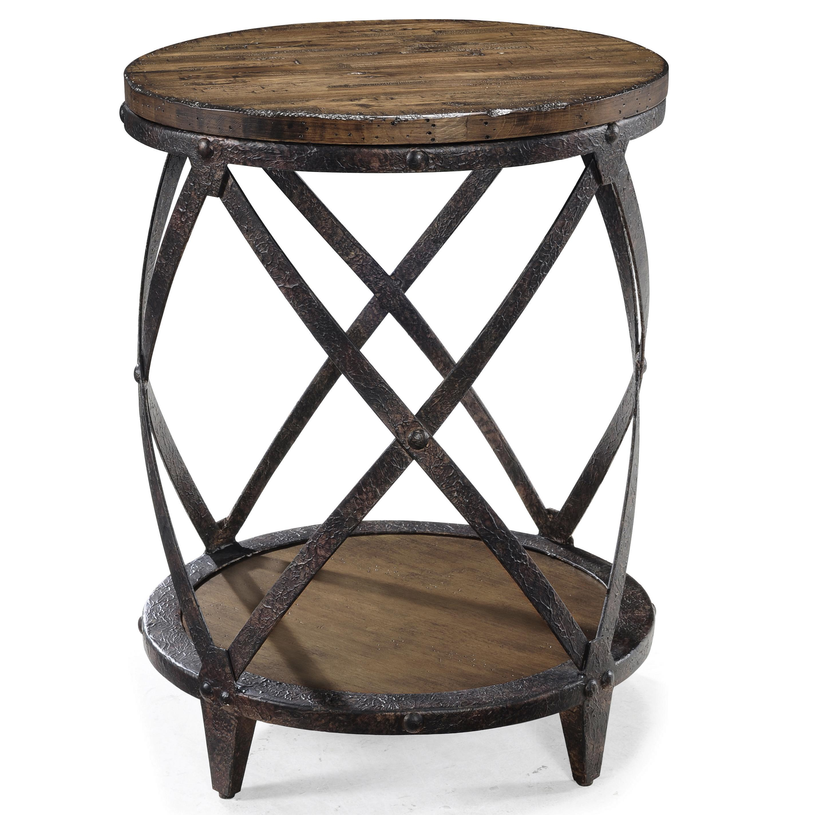 round accent end table with rustic iron legs magnussen home products color pinebrook faux wood tall oak side quatrefoil tablecloth for long stanley furniture foyer chest top