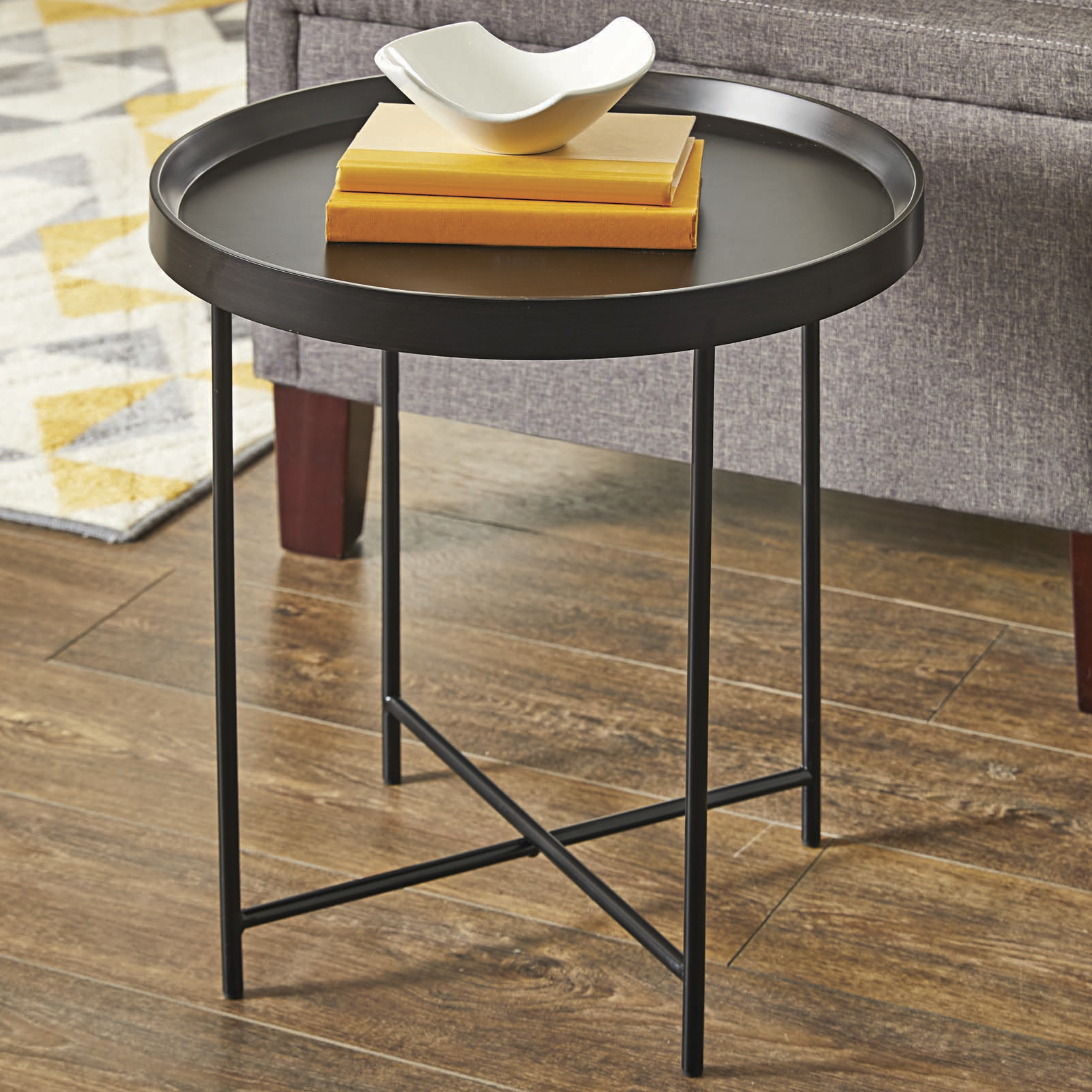 round accent table bedside small modern tray top metal night stand black finish foyer pedestal with drawer tile door cabinet outdoor daybed indoor mats pier dishes rattan coffee
