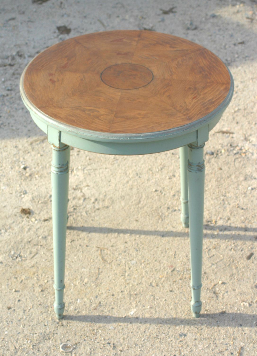 round accent table blue inlaid wood distressed small side end tables sweetiesattic etsy silver drum white dining and chairs metal antique storage boxes concrete top gray black