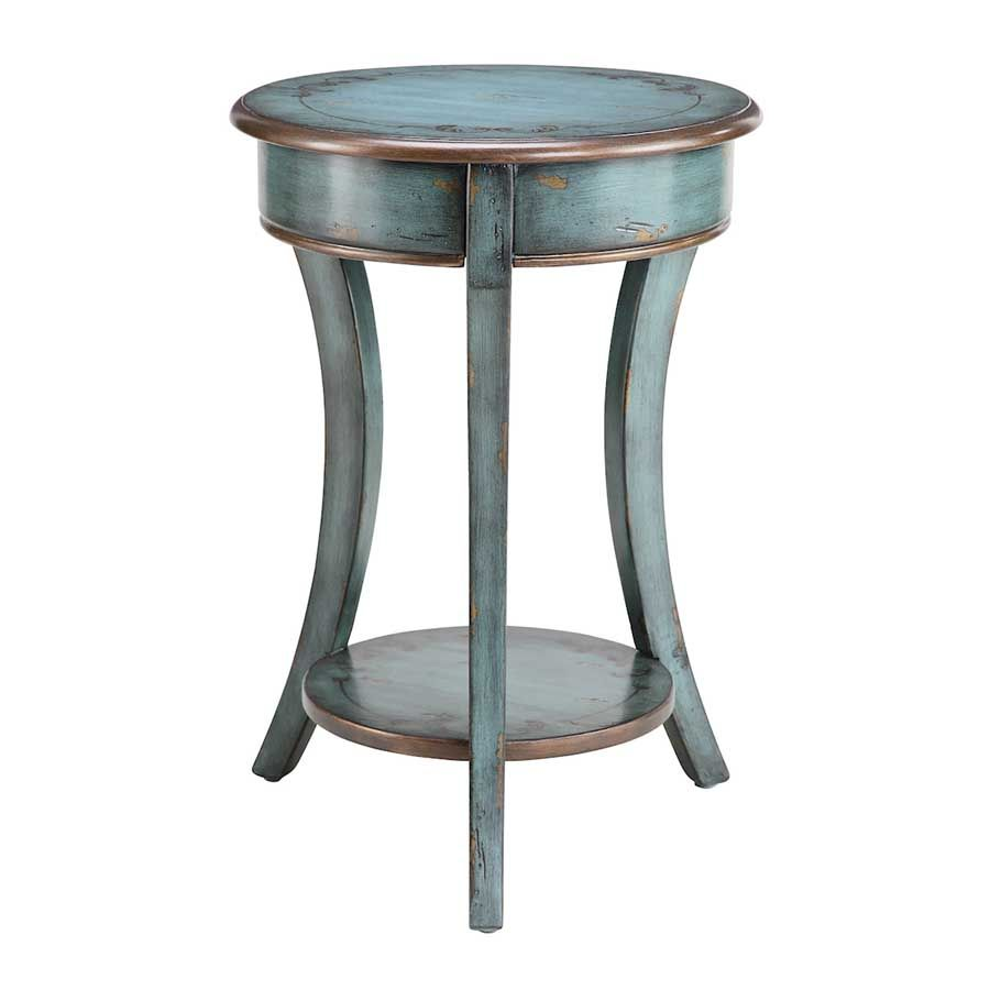 round accent table blue with bronze trim tables furniture living room the freya adds traditional styling and functionality your home decor percussion stool foyer pieces coffee