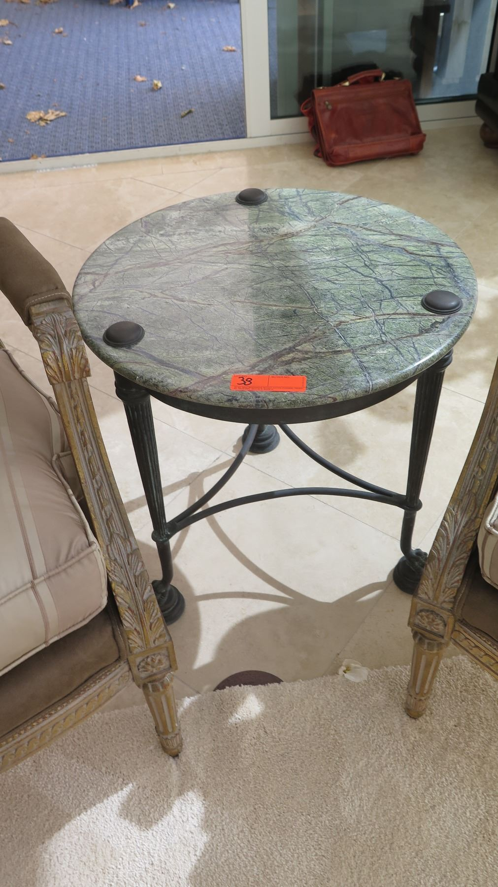 round accent table green natural stone top bronze approx dia grooming counter lamp cute tables navy side west elm floor pillow nautical lights rustic legs kid runner cool coffee