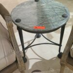 round accent table green natural stone top bronze approx dia metal brown patio side teal chest cream bedside lamps ikea chairs cooler hallway with storage unique mirrors furniture 150x150